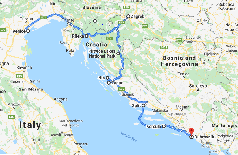 Map of Italy and Croatia